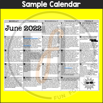 2018 4th Grade NO PREP Summer Calendars