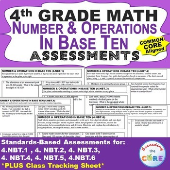 4th Grade NUMBER & OPERATIONS IN BASE TEN Assessments (4.NBT) Common Core