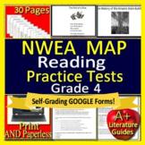 4th Grade NWEA MAP Reading Test Prep ELA Printable AND SELF-GRADING GOOGLE FORMS