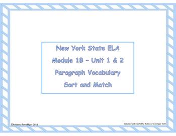 4th Grade NYS ELA Module 1B - Bundle - 3  Module Vocabulary Sort and Match Games