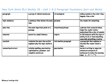 4th Grade NYS ELA Module 1B - Paragraph Vocabulary Sort and Match