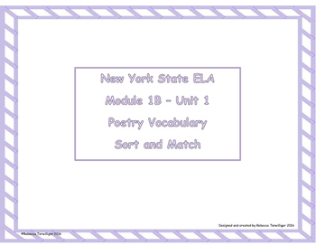 4th Grade NYS ELA Module 1B - Poetry Vocabulary Sort and Match