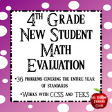 4th Grade New Student Math Evaluation Newcomer