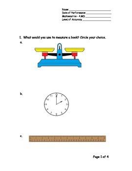 4th Grade New York Alternative Assessment Math Standard 4MD