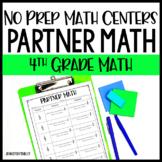4th Grade No Prep Math Centers - Partner Math Printables