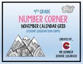4th Grade November Bridges Number Corner Student Worksheets
