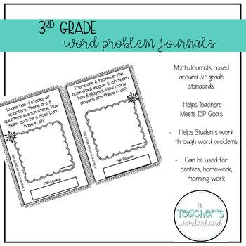 4th Grade November Math Word Problem Journals