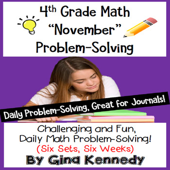 Daily Problem Solving for 4th Grade: November Word Problems (Multi-step)