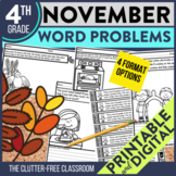 4th Grade November Word Problems printable and digital mat