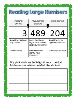 4th Grade Number Sense & Patterns Common Core Notebook