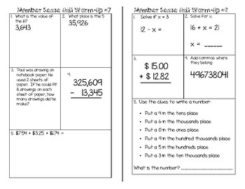 4th Grade Number Sense Unit Daily Warm-Ups