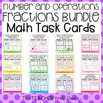 Number and Operations Fractions Task Card Bundle | Numbers and Operations Center