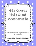 4th Grade Number and Operations in Base 10 Quick Assessmen