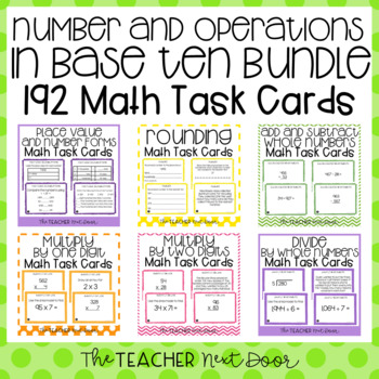 Number and Operations in Base Ten Task Card Bundle for 4th Grade