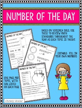 4th Grade Number of the Day Editable VA Standards