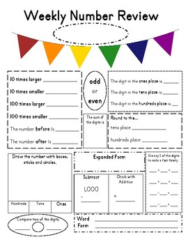 4th Grade Number of the Day Worksheet