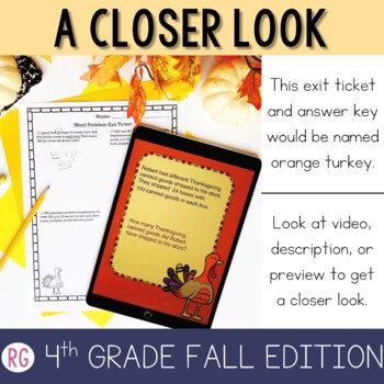 4th Grade Numberless Word Problem Strategy - Fall