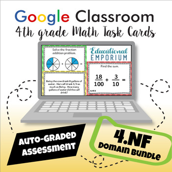 4th Grade Numbers & Operations - Fractions Google Task Cards Domain Bundle, 4.NF