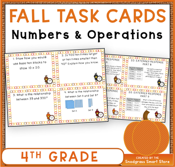 4th Grade Numbers & Operations Task Cards: Fall Theme