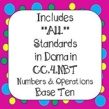 4th Grade Numbers and Operations Base Ten BUNDLE Task Cards & Worksheets