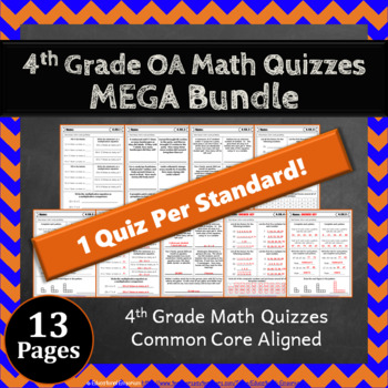 4th Grade OA Quizzes: 4th Grade Math Quizzes, Operations & Algebraic Thinking