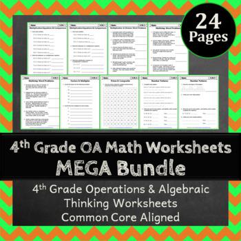 4th Grade OA Worksheets: 4th Grade Math Worksheets Operations Algebraic Thinking