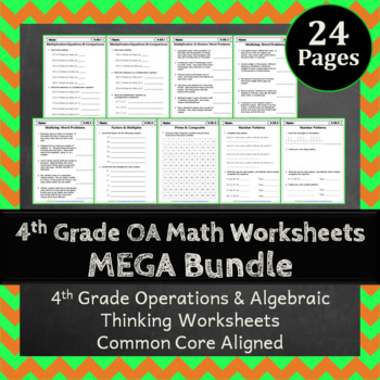 4th Grade OA Worksheets: 4th Grade Math Worksheets Operations Algebraic Thinking