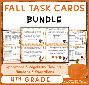 4th Grade OA and NBT Task Cards BUNDLE: Fall Theme