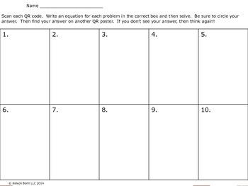 4th Grade OA3 Problem Solving with QR Codes - Interpreting the Remainder
