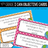 4th Grade Objective Cards (I Cans): Dots, Common Core Aligned