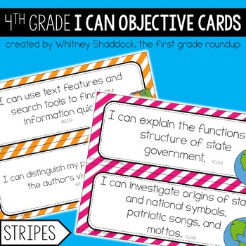 4th Grade Objective Cards (I Cans): Stripes, Common Core Aligned