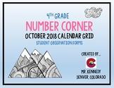 4th Grade October Bridges Number Corner Student Worksheets