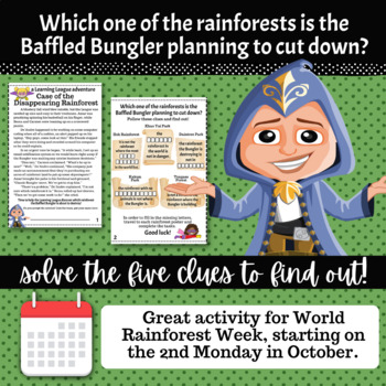4th Grade October Math Adventure- Case of the Disappearing Rainforest