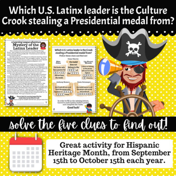 4th Grade October Reading Adventure- Mystery of the Hispanic Leader
