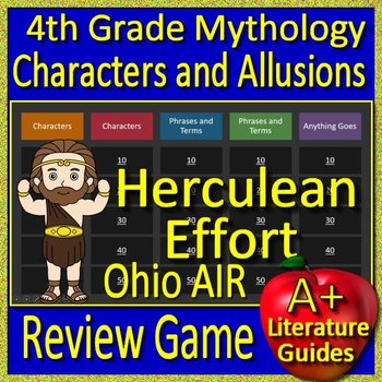 4th Grade Ohio State Test Prep Greek Mythology Allusions Review Game