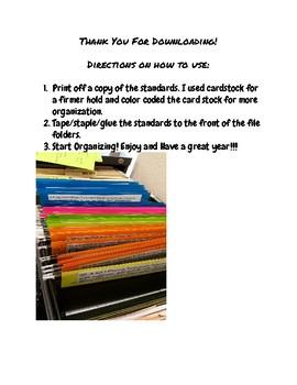 4th Grade Ohio ELA Content Standards File Organizers