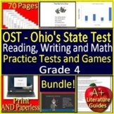 4th Grade Ohio's State Test Writing, Reading + Math BUNDLE! Tests and Games OST