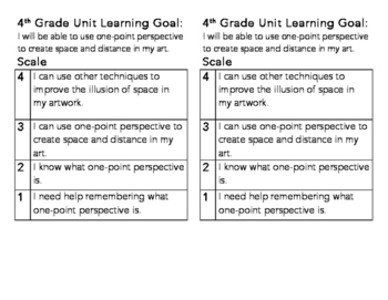 4th Grade One Point Perspective Learning Goal and Scale