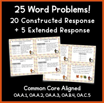 4th Grade Operations & Algebraic Thinking Task Cards: Fall Theme