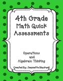 4th Grade Operations and Algebraic Thinking Quick Assessments 4.OA