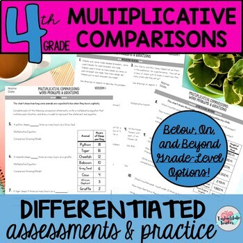 4th Grade Algebraic Thinking Multiplicative Comparison Problems Worksheets