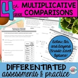 4th Grade Algebraic Thinking Multiplicative Comparison Problems Worksheets