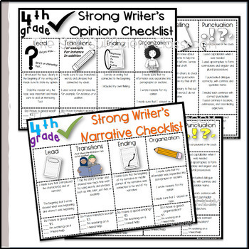 4th Grade Opinion, Narrative, & Informational Writing Rubric/Posters~ Editable