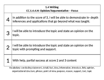 4th Grade - PA Core - Marzano Literacy Goals/Scales - Goals and Reflection