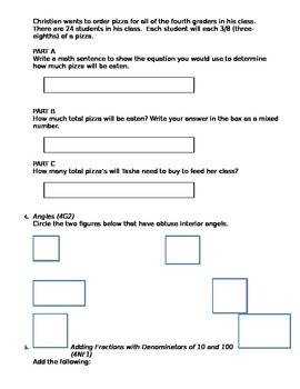 4th Grade Common Core Math Review Test #1 - focus on word problems