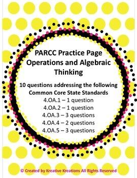 4th Grade PARCC Practice - Math - 4.OA