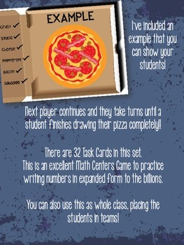 4th Grade PLACE VALUE Pizza Factory - Writing in EXPANDED FORM to the billions