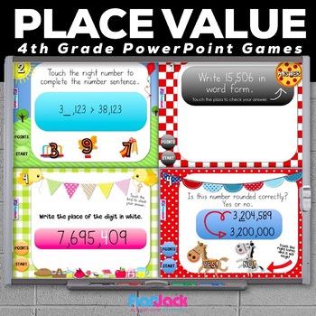 4th Grade PLACE VALUE PowerPoint Games Bundle