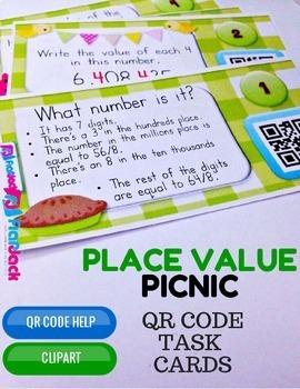 4th Grade PLACE VALUE QR Code Task Cards Bundle