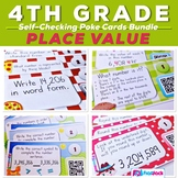 4th Grade PLACE VALUE Task Cards with QR Codes Bundle